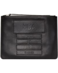 Hood By Air - Black Leather Moma Zip Pouch - Lyst