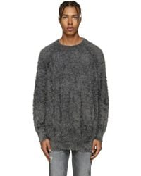 Diet Butcher Slim Skin - Grey Oversized Shaggy Pullover - Lyst