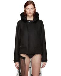 Bless - Black Wool Hooded Jacket - Lyst