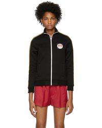 3350c6b54f75 Miu Miu - Black Logo Patch Track Jacket - Lyst