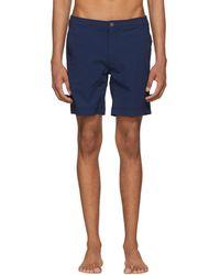 Onia - Navy Striped Calder Swim Shorts - Lyst