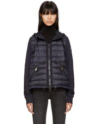 Moncler - Navy Down French Terry Hooded Jacket - Lyst