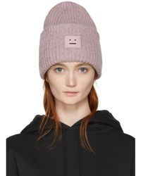 Acne Studios - Pink Pansy Face Beanie - Lyst