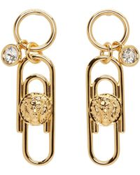Versus - Gold Safety Pin Earrings - Lyst