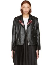 Valentino - Black Leather Love Blade Motorcycle Jacket - Lyst
