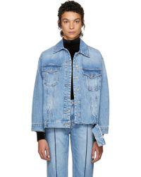 SJYP - Blue Bottom Cut Denim Jacket - Lyst