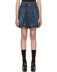 Sacai - Blue Denim Shorts - Lyst