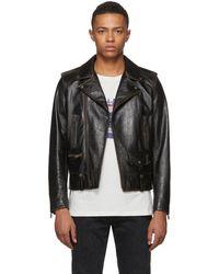 Saint Laurent - Black Leather 1971 Jacket - Lyst
