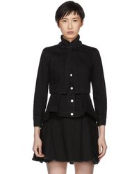 Alexander McQueen - Black Denim Layered Jacket - Lyst