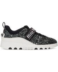 5411fa159194 Lyst - Miu Miu Silver Glitter Chunky Sneakers in Metallic
