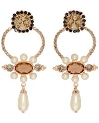Erdem - Orange Floral Hoop Drop Earrings - Lyst