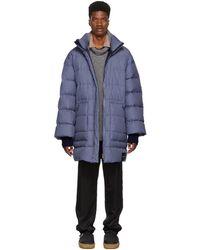 3.1 Phillip Lim - Blue Down Striped Oversized Coat - Lyst