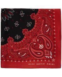 Amiri - Red And Black Silk Bandana Scarf - Lyst
