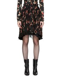 Isabel Marant - Black And Red Floral Pleated Watford Minikirt - Lyst