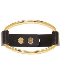 Isabel Marant - Black & Gold Leather Bracelet - Lyst
