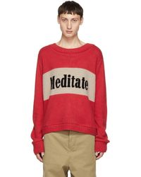 The Elder Statesman - Red And Beige Cashmere Meditate Sweater - Lyst