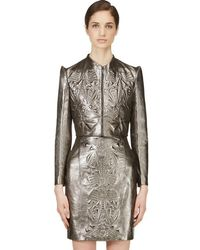 Iris Van Herpen - Pewter Cropped Embossed Leather Jacket - Lyst