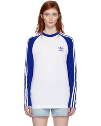 adidas Originals - White And Blue Long Sleeve 3-stripes T-shirt - Lyst