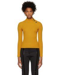 Fendi - Yellow Ribbed Jumper - Lyst