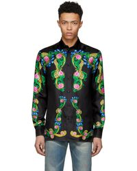 Versace - Black Signature Print Silk Shirt - Lyst