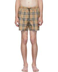 Burberry Beige Vintage Check Grafton Swim Shorts - Natural