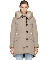 Moncler - Taupe Down & Fur Arehdel Coat - Lyst