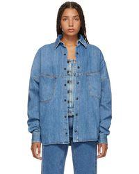 Palm Angels - Blue Denim Logo Shirt - Lyst
