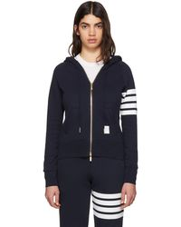 Thom Browne | Navy Classic Four Bar Full Zip Hoodie | Lyst