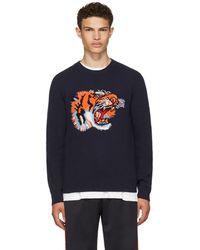 Gucci | Blue Intarsia 'loved' Tiger Jumper | Lyst