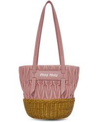 Miu Miu Pink Matelasse Logo Tote in Pink - Lyst 9eca2c99c6