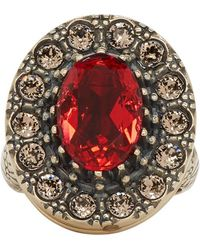 Alexander McQueen - Gold And Red Jewelled Ring - Lyst