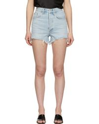 Agolde - Blue Denim Dee Close Fit Shorts - Lyst