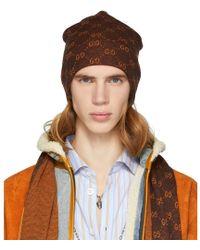 Gucci - Brown And Orange Alpaca Gg Supreme Beanie - Lyst