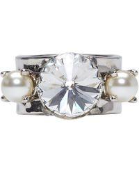 Miu Miu - Silver Pearls And Crystal Ring - Lyst