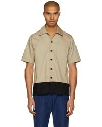 AMI - Beige And Black Colorblock Shirt - Lyst