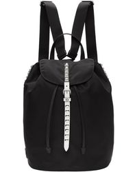 99fc54173266 Prada - Black And White Studded New Vela Backpack - Lyst