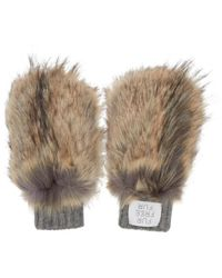 Stella McCartney - Brown & Grey Faux-fur Mittens - Lyst