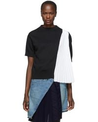 Sacai - Black And White Knit Shirting Sweater - Lyst