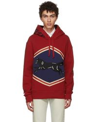 e39ba2cd3f7 Gucci Red Animalium Double Wolves Hoodie in Red for Men - Lyst