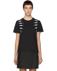 Neil Barrett - Black Fair Isle Sleeve T-shirt - Lyst