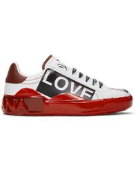 Dolce & Gabbana - White And Red Portofino Melt Love Is Love Sneakers - Lyst