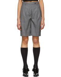 Prada - Grey Wool Tailored Shorts - Lyst