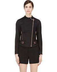 Veronique Branquinho - Black & Copper Twill Quilted Biker Jacket - Lyst
