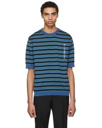 Givenchy - Blue Short Sleeve Striped Logo Sweater - Lyst