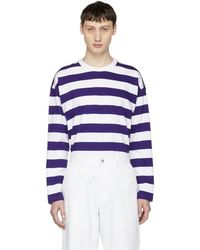 AMI - White And Purple Long Sleeve Large Stripe T-shirt - Lyst