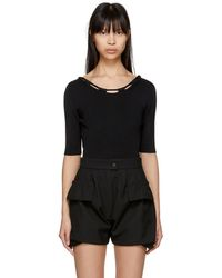Carven - Black Basic Knit Bodysuit - Lyst