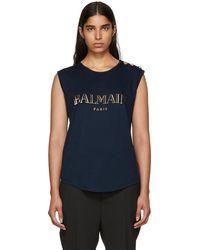 Balmain - Navy Sleeveless T-shirt - Lyst