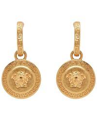 Versace - Gold Medusa Tribute Pendant Earrings - Lyst
