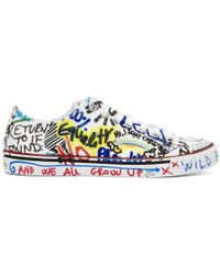 Vetements - White Graffiti Canvas Sneakers - Lyst