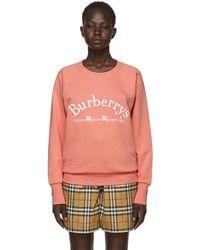 Burberry - Pink Oversized Logo Sweatshirt - Lyst